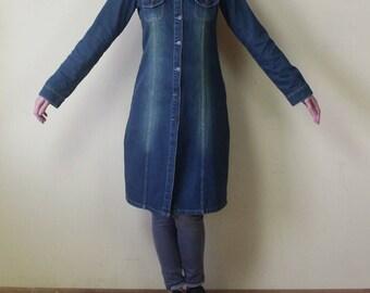 Vintage Denim Dress Midi Denim Dress Blue Denim Dress Button up Denim Shirt Dress Jean Dress Denim Coat Large Size