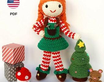 Patrón amigurumi: Elfa de Navidad de ganchillo, ayudante Santa Claus, Papá Noél, elfo amigurumi, muñeca ganchillo, elfa ganchillo (INGLÉS)