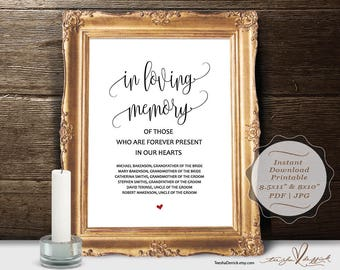 In loving memory Wedding Memorial Table Sign, instant download editable PDF template, Modern Rustic Memory Sign, printable  (TED334_27)