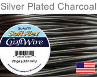 28 Gauge Charcoal Silver Plated Wire, Soft Flex, Round, Non Tarnish, Supplies, Findings, Craft Wire