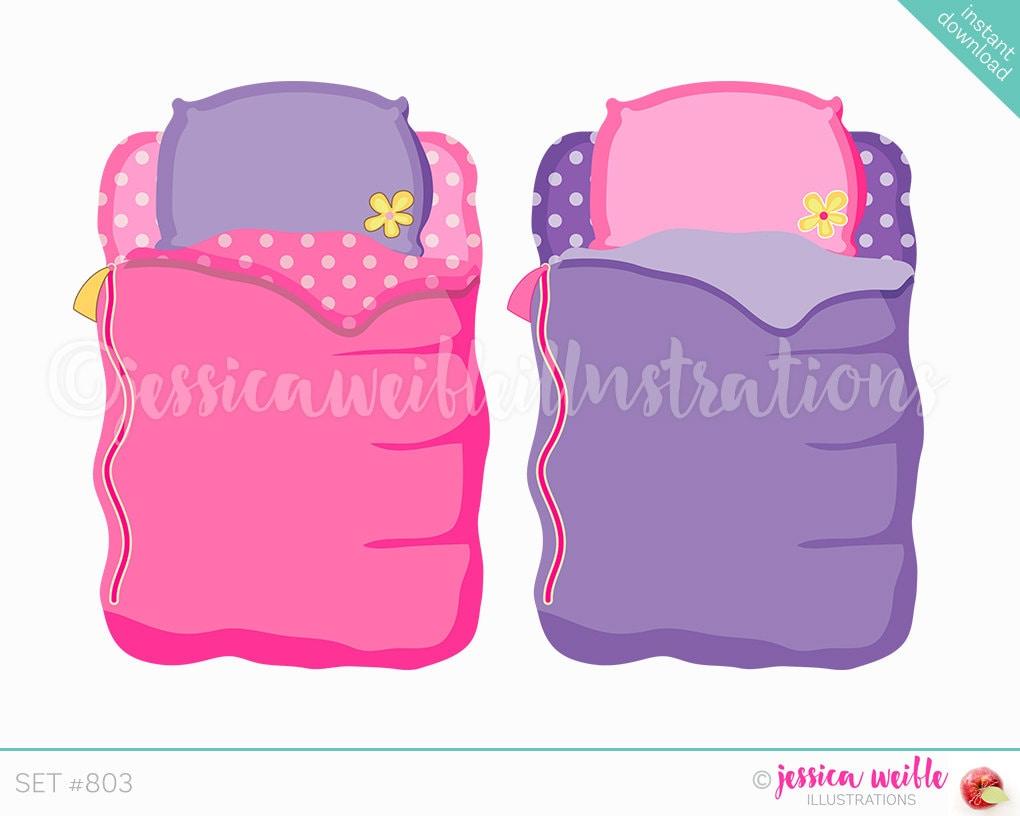 Instant Download Girls Sleeping Bag Cute Digital Clipart