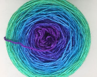 TRINITY - 150g Jumbo Gradient Cake - 600m - Silk Blue Faced Leicester BFL - 4ply fingering sock