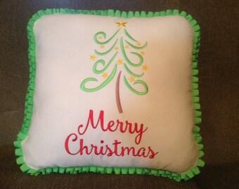 Merry Christmas Swirly Tree Pillow