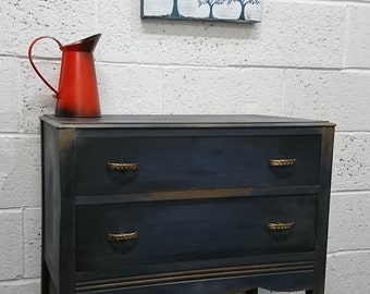 Vintage Chest Of Drawers In Napoleonic, Graphite & Gold highlights