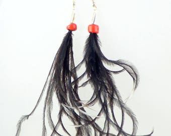 Sprigs of ostrich feather earrings