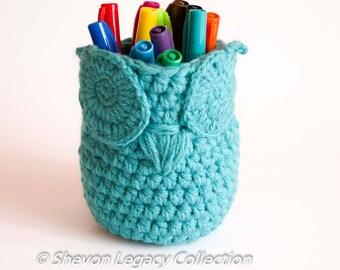 Mini Aqua Owl Basket Crocheted Bin Pen Holder Home Organizer