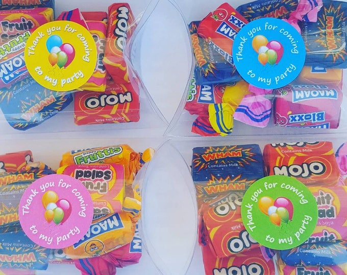 Childrens  sleep over slumber party sweet candy treat favours in pillow box. Favour stickers.
