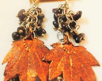 Garnet, emerald, copper-dipped leaf Fall earrings