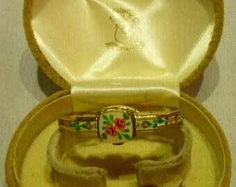 I68 Emile Jobin Co. Swiss Enameled Watch Bangle, 17 Jewels, Incabloc, Fond Acier, Working.