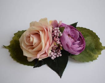 Vintage hair flower, flower hair clip, pink rose, purple ranunculus, berries, fascinator, wedding