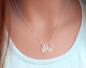 Silver Monogram Necklace, Monogram Necklace, Sterling Silver, Initial Necklace, Monogram Pendant, Silver Necklace, Letter Necklace
