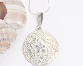 Silver Pendant, Silver Necklace, Fine Silver, Medallion Necklace, Disc Necklace, Pendant Necklace, Fine Silver Necklace, Handmade Necklace