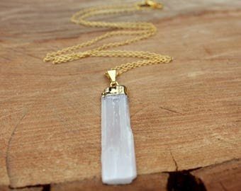 Selenite Necklace - Gold Capped Selenite - 14K Gold Filled Necklace - Rough Gemstone Necklace - Raw Selenite - White Stone - Protection