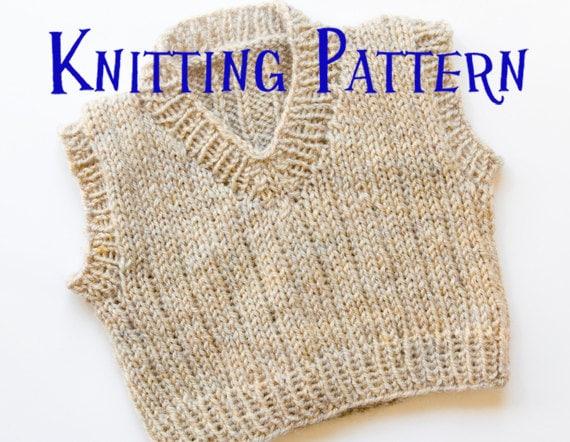 Pdf Knitting Pattern Little Vest Pullover Baby Sweater
