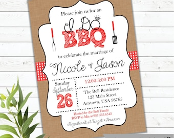 I Do BBQ Wedding Shower Invitation, Couples Shower,  Wedding Barbecue, BBQ Shower,  Bridal Shower, Rustic, Country, Coed, Printed, Digital
