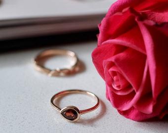 14k rose gold garnet ring, rose gold ring, gold minimal ring, january birthstone, jewelry, gift for her