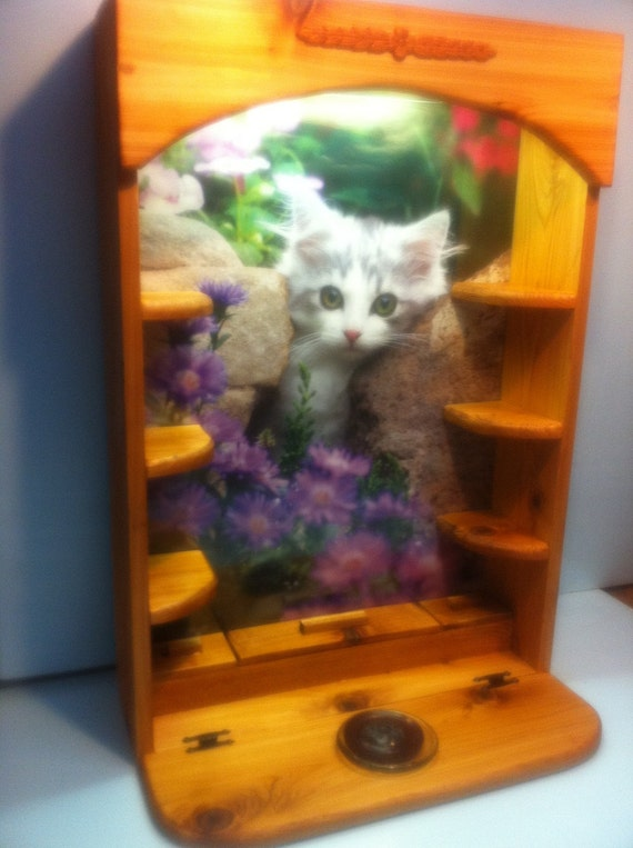 Lighted Kitty Cat Display, Curio Cabinet, Incense Burner, Wall Shelf