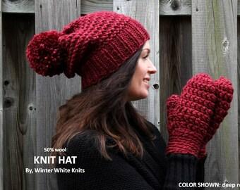 Chunky knit hat, pom pom knit hat, COZY WOODS HAT, Knit winter hat, knit beanie, chunky knit slouch beanie, pom pom hat