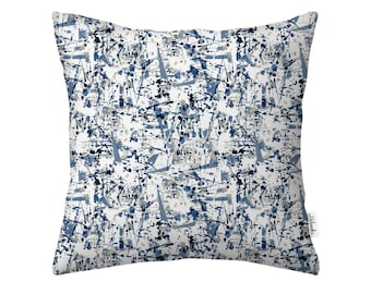 Abstract watercolor pillowcase, geometric pillow cover by original pattern design in pastel blue, navy blue, white, indigo 18x18', 20x20'
