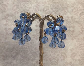 Blue Cluster Crystal Earrings Action Clip On Faceted Beads
