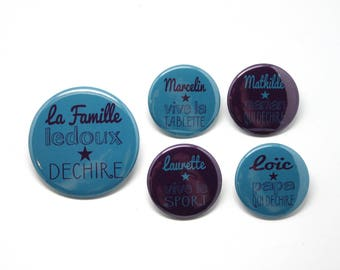 1 magnet 56 mm + 4 magnets 37mm personalized family tearing blue duck and plum