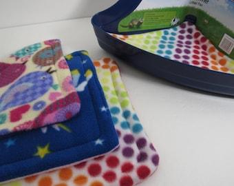 Grab Bag Litter Pan Pad   Litter Absorbent Mat   Guinea Pig Corner Litter Pan   Fleece Cage liners   Fleece Bedding   Washable, Reusable