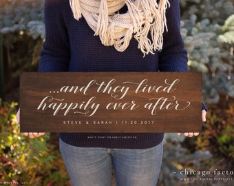 And They Lived Happily Ever After, Love Quote Sign, Wedding Sign, Custom Wood Signs, Wedding Gift, Wood Wall Art, Engagement Gift (GP1088)