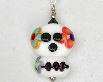 Sugar Skull Pendant, Day of The Dead, All Souls Day, Mexican Folk Art, Sterling Silver, Swarovski Crystal, Nickel Free