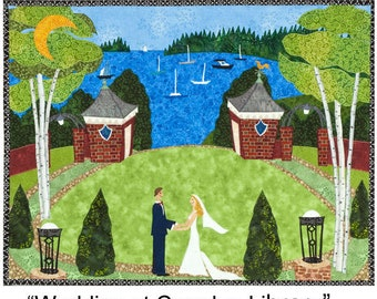 """Original Textile Collage- """"Wedding at the Camden Amphitheatre"""" piece comes unframed in shipping tube."""