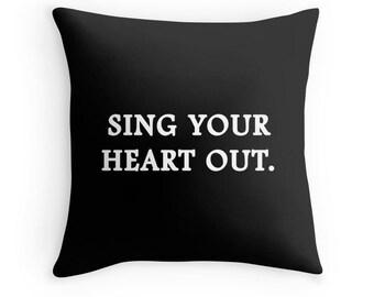 Sing Pillow, Singer Pillow, Sing Quote Pillow, Singer Quote, Singing Quote Pillow, Music Toss Pillow, Sing Music Bedding, Music Throw Pillow