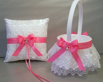 Hot pink flower girl etsy hot pink wedding bridal flower girl basket and ring bearer pillow set on ivory or white allison line may also be purchased individually mightylinksfo