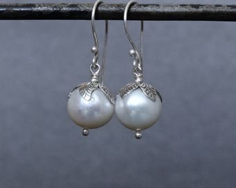 Pearl Earrings, Pearl and Silver Drops, Freshwater Pearl, White Pearl Earrings, Leaf Earrings, Sterling Silver, 925