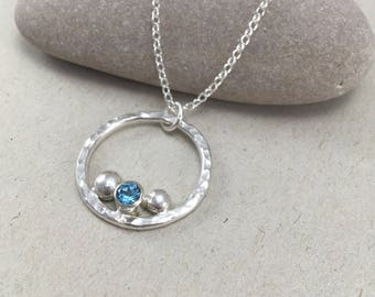 Blue Topaz Sterling Silver Circle Necklace, Hammered Topaz Silver Pendant, Silver and Blue Topaz Necklace on Chain November Birthstone