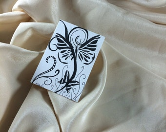 Butterfly Tangle  Black and White ACEO