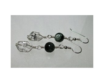 ww1346 - Seraphinite & HERKIMER DIAMOND Wirewrap Earrings - Argentium Sterling Silver