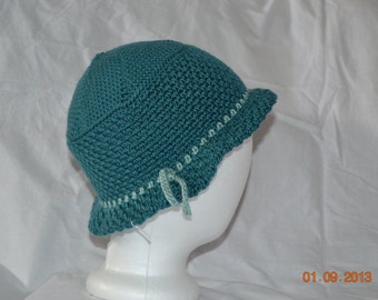 Dark Teal Hat with Brim and Light Turquoise Tie