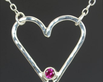 Ruby Heart Necklace, Sterling Silver, Mothers Necklace, July Birthstone Necklace, Ruby Necklace, Mother Necklace, Heart Pendant