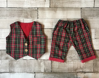 Handmade boys tartan waistcoat and pants set, Christmas outfit, toddler clothes set, matching set, winter baby, unique outfit, baby gift.