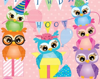 Owl Birthday party clipart, commercial use, vector graphics, digital clip art, digital images, AMB-268