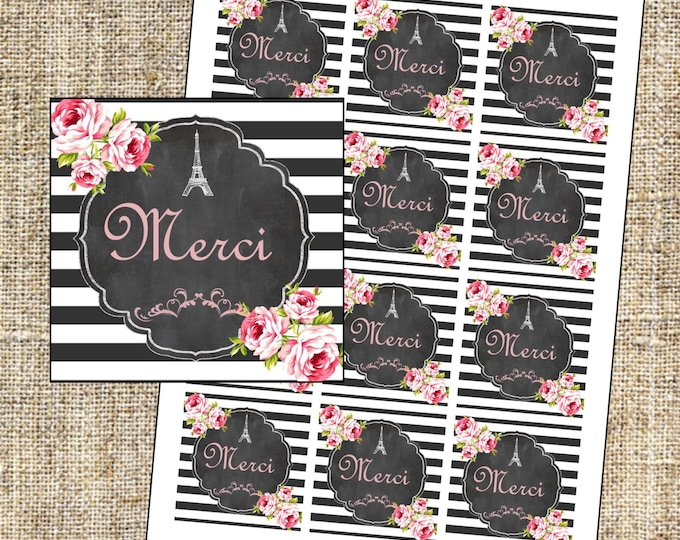 Paris Favor Tags, Merci Favor Tags, Eiffel Tower thank you labels, Instant Download