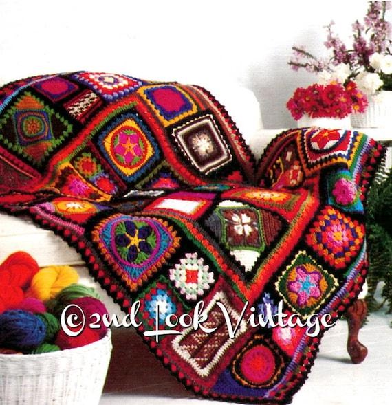 Vintage Crochet Pattern 1970s Granny Square Afghan Crazy Quilt