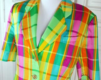 German Vintage Rainbow Blazer Women's, Short-Sleeve Multicolor Jacket, Rainbow Plaid Spring Summer Blazer: Size 12 US, Size 16 UK