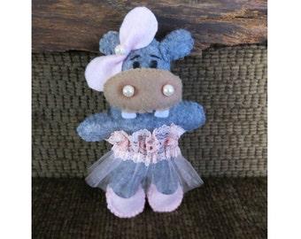 Toy Hippo, Small Stuffed Felt Nursery Toy, Baby Shower Gift, Birthday Toy, Newborn Christmas Gift, Childs Gift, Pretend Play