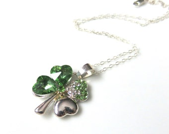 Green Shamrock Necklace,  Four Leaf Clover, Sterling Silver Chain,  Irish Jewelry, Glass Shamrock, St Patricks Day Gift, Emerald Green