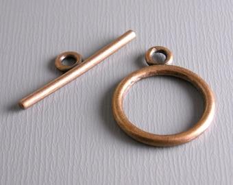 TOGGLE-COPPER-15MM - Antique Copper Toggle Clasps...10 sets