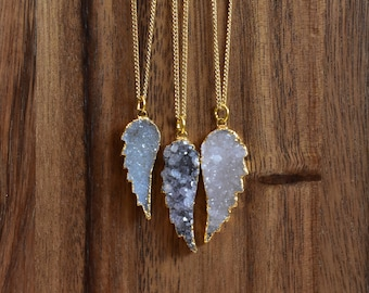 Angel Wing Druzy Necklace/ Gold Necklace/ Layering Natural Stone Druzy Druzze Drusy Mineral/ Crystal Necklace (EPJ-NBB25)