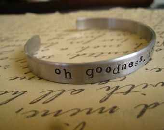 """Dr. Horrible """"Oh Goodness, Look at my Wrist"""" Bangle, Dr. Horrible's Sing-a-Long Blog Inspired, NPH, Hand Stamped Aluminum, FREE SHIPPING"""