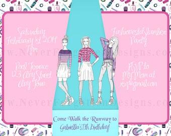 5x7 Fashion Fashionista Runway Model Birthday Party Invite Invitation
