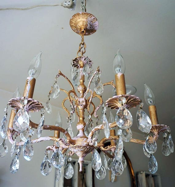 Ornate chandelier lighting painted gold w light pink shabby ornate chandelier lighting painted gold w light pink shabby cottage chic ceiling fixture w vintage crystals home decor anita spero design aloadofball Image collections