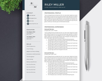 Resume Template for Word / CV Template | Professional CV | Creative Resume Design | Simple Resume | Professional Resume Template | RILEY